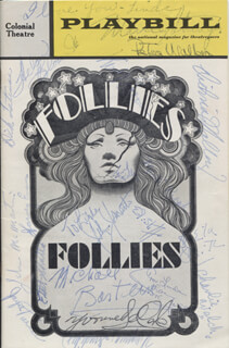 FOLLIES PLAY CAST - SHOW BILL SIGNED CO-SIGNED BY: ETHEL SHUTTA, FIFI D'ORSAY, YVONNE DE CARLO, GENE NELSON, ALEXIS SMITH, JOHN McMARTIN, MICHAEL BARTLETT, MARY MCCARTY, HARVEY EVANS, VICTORIA MALLORY, KURT PETERSON, HELON BLOUNT, JUSTINE JOHNSTON, SONJA LEVKOVA, VICTOR GRIFFIN, JOE TUBENS, PETER WALKER, CHARLES WELCH, MARCIE STRINGER, JAYNE TURNER, ETHEL BARRYMORE COLT
