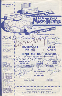 SEND ME NO FLOWERS PLAY CAST - SHOW BILL SIGNED CO-SIGNED BY: ROSEMARY PRINZ, JESS CAIN, HANSFORD H. ROWE JR., MARILYN WASSELL, BOB BROOKS, GARY GAGE, VIN MALONEY, RICHARD FLANDERS