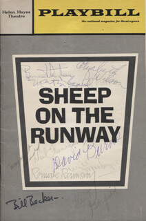 Autographs: SHEEP ON THE RUNWAY PLAY CAST - SHOW BILL SIGNED CO-SIGNED BY: DAVID BURNS, BARNARD HUGHES, WILL MacKENZIE, ELIZABETH WILSON, MARTIN GABEL, MARGARET LADD, REMAK RAMSAY, KURT GARFIELD, NEIL FLANAGAN, JEREMIAH MORRIS, WILLIAM J. BILL BECKER