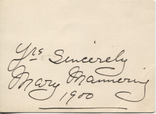 MARY MANNERING - AUTOGRAPH SENTIMENT SIGNED 1900