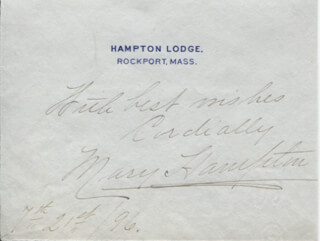 MARY HAMPTON - AUTOGRAPH SENTIMENT SIGNED 07/21/1896