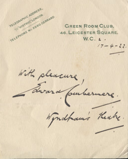 EDWARD COMBERMERE - AUTOGRAPH SENTIMENT SIGNED 04/17/1922