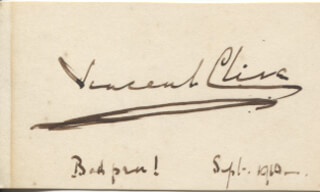 VINCENT CLIVE - AUTOGRAPH SENTIMENT SIGNED 09/1910
