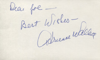 ADRIENNE WALLACE - AUTOGRAPH NOTE SIGNED