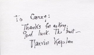 MARVIN KAPLAN - AUTOGRAPH NOTE SIGNED