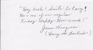 JASON WINGREEN - AUTOGRAPH NOTE SIGNED