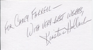 KRISTINA HOLLAND - AUTOGRAPH NOTE SIGNED