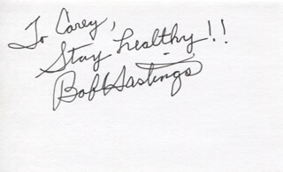 BOB HASTINGS - AUTOGRAPH NOTE SIGNED
