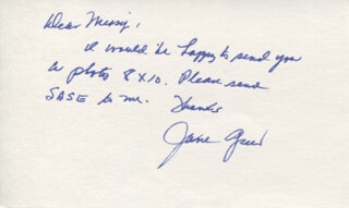 JANE GREER - AUTOGRAPH NOTE SIGNED