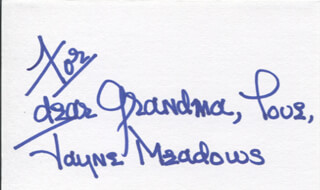 JAYNE MEADOWS - AUTOGRAPH NOTE SIGNED