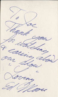 ED MOORE - AUTOGRAPH NOTE SIGNED