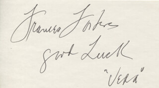 FRANCES FOSTER - AUTOGRAPH SENTIMENT SIGNED