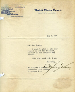 ARTHUR HARRY MOORE - TYPED NOTE SIGNED 05/08/1937