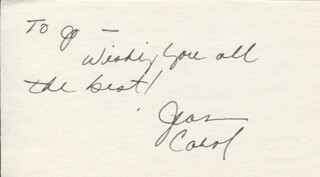 JEAN CAROL - AUTOGRAPH NOTE SIGNED