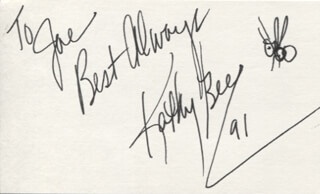 KATHY BEE - AUTOGRAPH NOTE SIGNED 1991