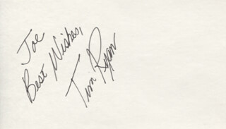 TIM RYAN - AUTOGRAPH NOTE SIGNED