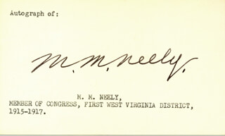 MATTHEW M. NEELY - PRINTED CARD SIGNED IN INK