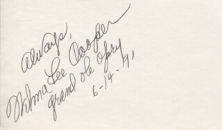 WILMA LEE COOPER - AUTOGRAPH SENTIMENT SIGNED 06/14/1991