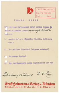Autographs: CARL FRIEDRICH BENZ - QUESTIONNAIRE SIGNED 07/26/1925
