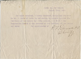 PATRICK F. BIG CASINO GARRETT - TYPED LETTER SIGNED 08/16/1900