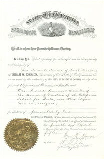 Autographs: HIRAM WARREN JOHNSON - CIVIL APPOINTMENT SIGNED 04/04/1914 CO-SIGNED BY: FRANK CHESTER JORDAN