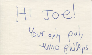 EMO PHILIPS - AUTOGRAPH NOTE SIGNED