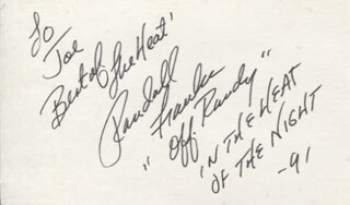 RANDALL RANDY FRANKS - AUTOGRAPH NOTE SIGNED 1991