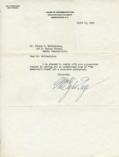 WILLIAM TYLER PAGE - TYPED LETTER SIGNED 04/22/1940