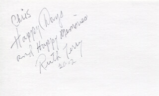 RUTH TERRY - AUTOGRAPH NOTE SIGNED 2012