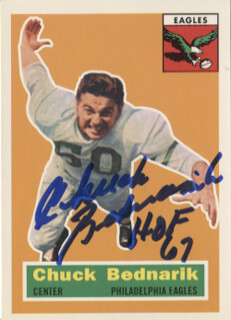 Autographs: CHUCK BEDNARIK - TRADING/SPORTS CARD SIGNED