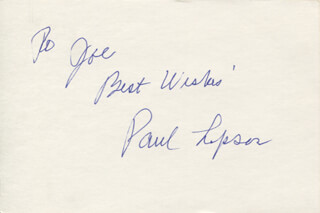 PAUL LIPSON - AUTOGRAPH NOTE SIGNED