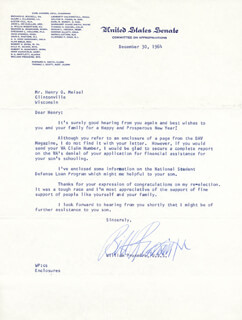 WILLIAM PROXMIRE - TYPED LETTER SIGNED 12/29/1964