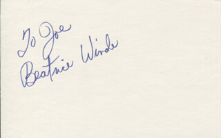 BEATRICE WINDE - INSCRIBED SIGNATURE