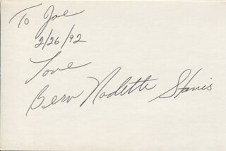 BERN NADETTE STANIS - AUTOGRAPH NOTE SIGNED 02/26/1992