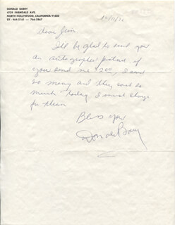 DON RED BARRY - AUTOGRAPH NOTE SIGNED 12/11/1972