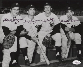 THE 1961 NEW YORK YANKEES - AUTOGRAPHED SIGNED PHOTOGRAPH CO-SIGNED BY: BILL MOOSE SKOWRON, CLETE BOYER, BOBBY RICHARDSON, TONY KUBEK