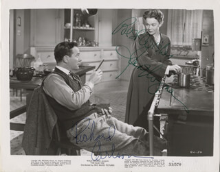 THE BLUE VEIL MOVIE CAST - PRINTED PHOTOGRAPH SIGNED IN INK CO-SIGNED BY: JANE WYMAN, RICHARD CARLSON