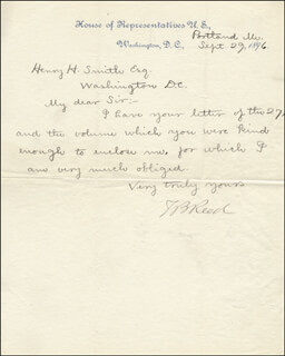 THOMAS B. REED - MANUSCRIPT LETTER SIGNED 09/29/1896