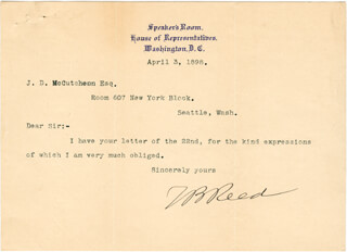 THOMAS B. REED - TYPED LETTER SIGNED 04/03/1898