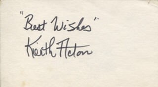 KEITH ACTON - AUTOGRAPH SENTIMENT SIGNED