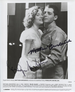 BILOXI BLUES MOVIE CAST - PRINTED PHOTOGRAPH SIGNED IN INK CO-SIGNED BY: MATTHEW BRODERICK, PENELOPE ANN MILLER