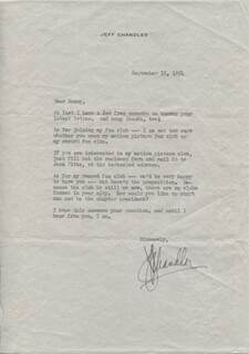 JEFF CHANDLER - TYPED LETTER SIGNED 09/15/1954