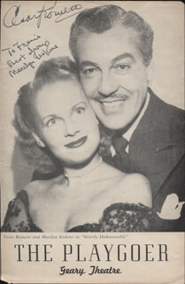STRICTLY DISHONORABLE PLAY CAST - INSCRIBED SHOW BILL COVER SIGNED CO-SIGNED BY: CESAR ROMERO, MARILYN ERSKINE