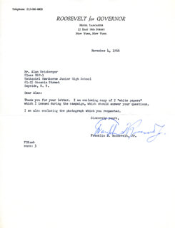 FRANKLIN D. ROOSEVELT JR. - TYPED LETTER SIGNED 11/04/1966