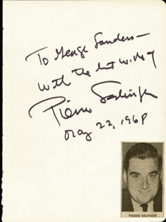 PIERRE SALINGER - INSCRIBED SIGNATURE 05/22/1968