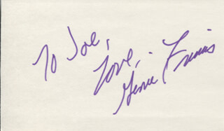 GENIE FRANCIS - AUTOGRAPH NOTE SIGNED
