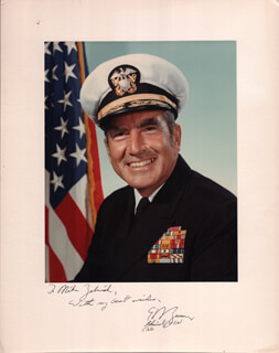 ADMIRAL ELMO R. ZUMWALT JR. - INSCRIBED PHOTOGRAPH MOUNT SIGNED
