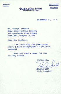 HUGH D. SCOTT JR. - TYPED LETTER SIGNED 12/22/1970