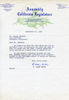 H. ALLEN SMITH - TYPED LETTER SIGNED 09/27/1956