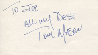 TOM MASON - AUTOGRAPH NOTE SIGNED